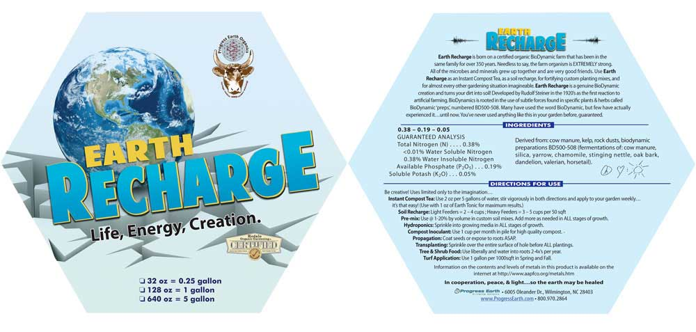 image of the Earth Recharge label